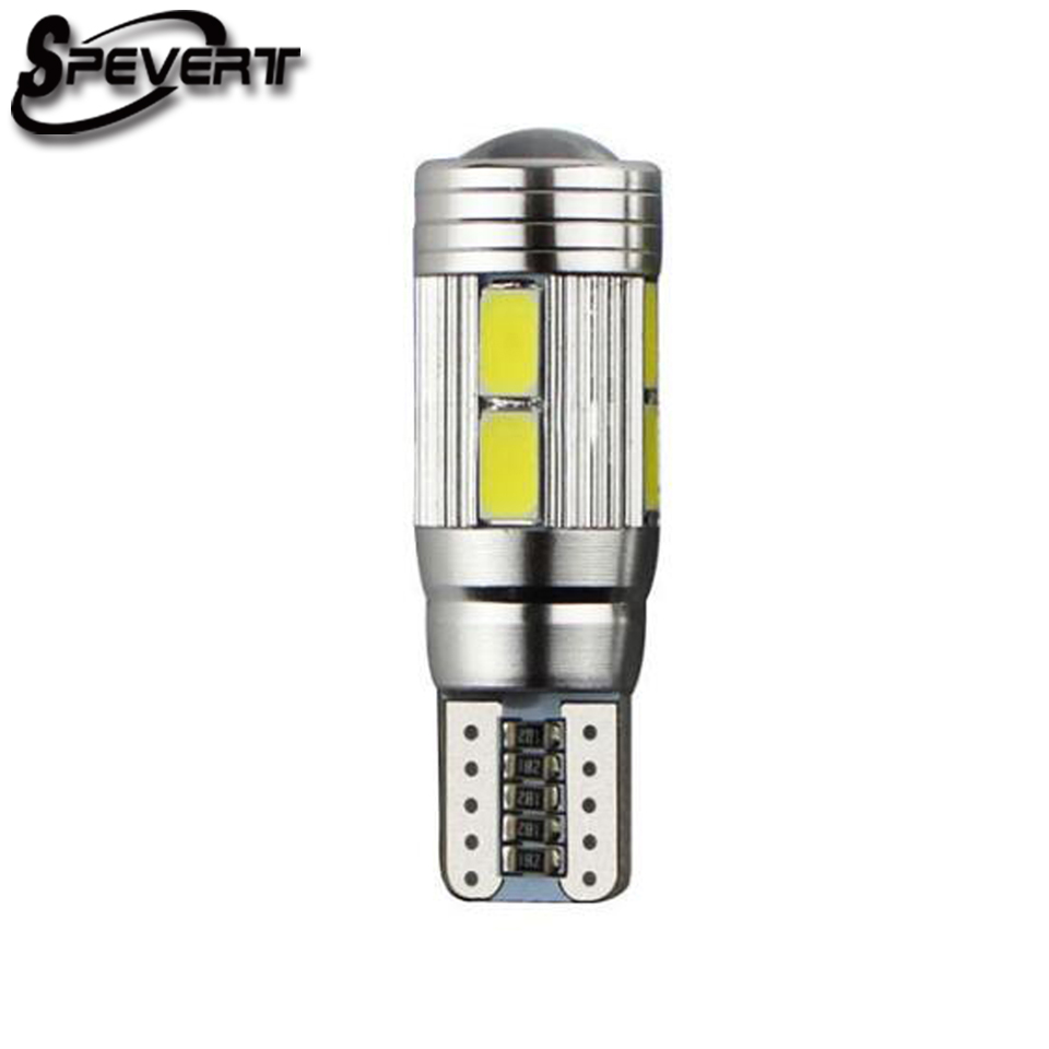 SPEVERT Super Bright HID White T10 5630 6/10 SMD Bulbs 501 W5W 6 LED 10 LED Canbus Error Free Car Parking Lamp 1pc new parking hid white canbus t10 w5w