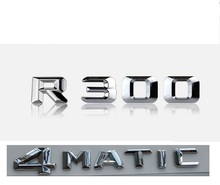 Chrome  R 300 4 MATIC Car Trunk Rear Letters Words Badge Emblem Letter Decal Sticker for Mercedes Benz Class R300 4MATIC