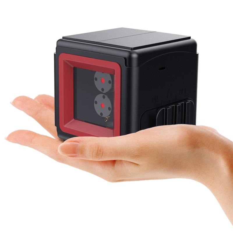 Lumière rouge Portable 2 lignes 1 Point Cube Laser niveau croix Laser avec inclinaison auto-nivelante et fonction de verrouillage de niveau nouveau