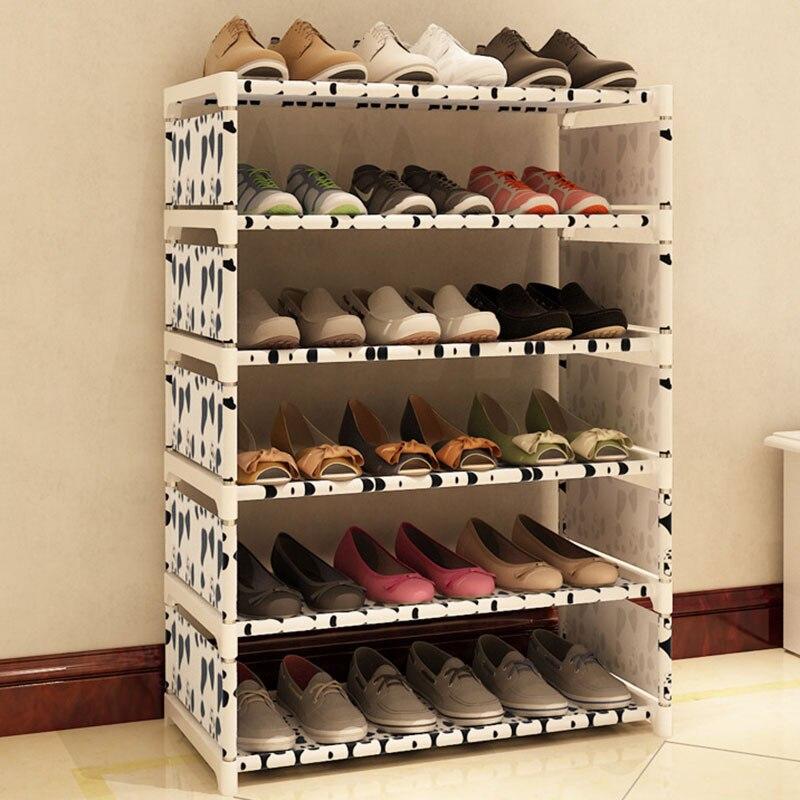 Simple Fashion Six Layers Multi-purpose Shoe Rack Non-woven Cloth Iron Metal Shoe Storage Cabinet Book Shelf Toy Storage Locker