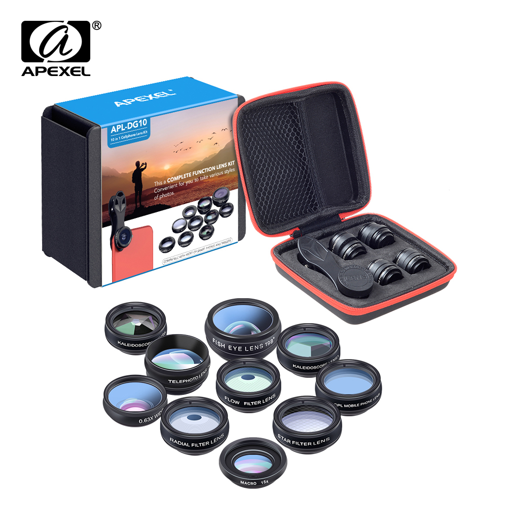 APEXEL Phone lens kit universal 10 in 1 Fisheye Wide Angle macro Lens CPL Filter Kaleidoscope+2X telescope Lens for smartphone(China)