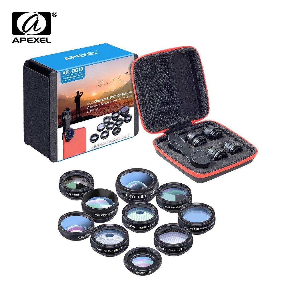 APEXEL kit de lentes de teléfono universal 10 en 1 Fisheye gran angular macro lente CPL filtro caleidoscopio 2X lente del telescopio para smartphone