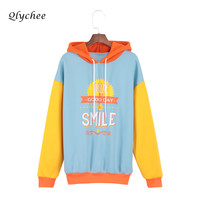 Qlychee Letter Patchwork Print Women Sweatshirt Long Sleeve Cute Thick Pullover Sweatshirt Female Casual Loose Harajuku