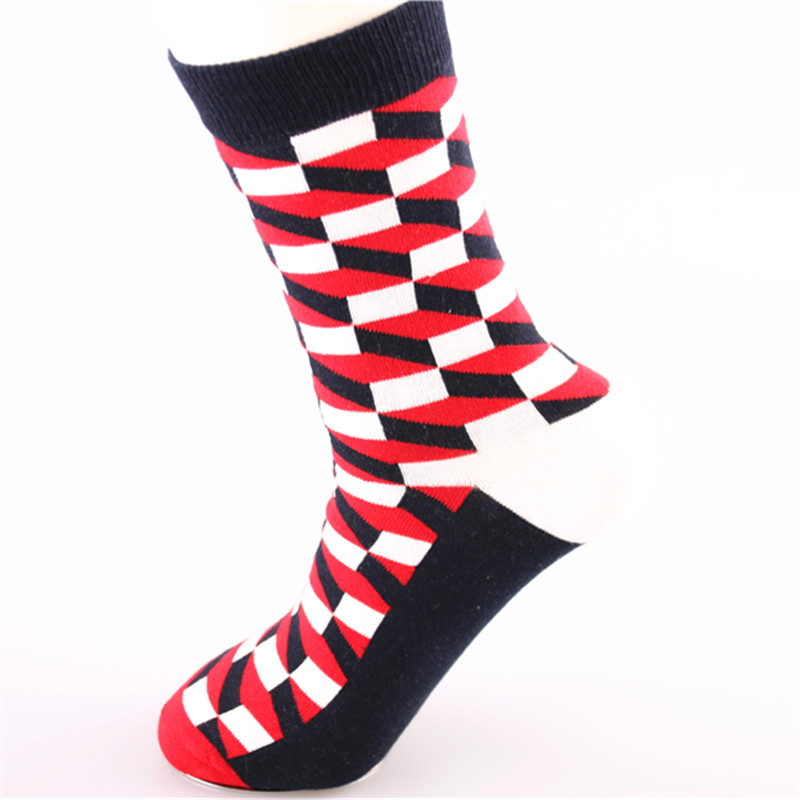 Asenmei Brand New and High Quality 1 Pair Business Style Socks For Men 5 Colors Available Colorful Grid Cotton Men Socks