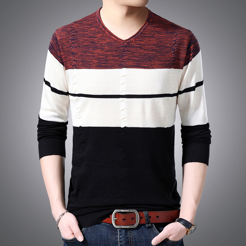 The New 2019 Men's Fashion Jacquard Collar Sweater Striped Sweater