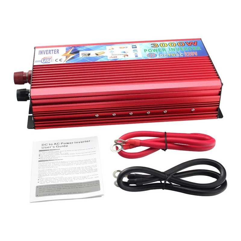 12 V 220 V moc inwerter 3000 W falownik samochodowy 12 v do 220 v przetwornica falownika przenośne Auto zasilania ładowarka USB