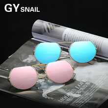GYSnail fashion 2017 New Arrival Women Classic Brand Designer Sunglasses Twin Beam Metal Frame Sun Glasses Round Frame Steampunk