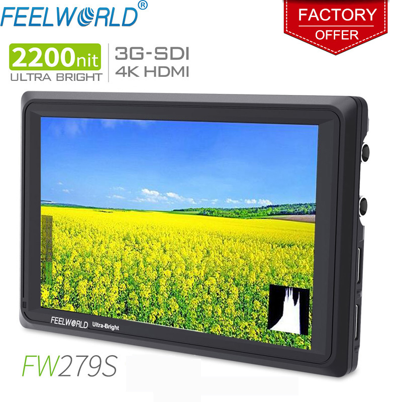 FEELWORLD FW279S 7 Inch IPS 2200nits 3G-SDI 4K HDMI Camera Field Monitor 1920X1200 DSLR Monitor for Shooting Video Filmmaking