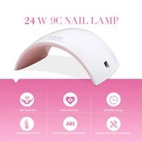 24 W LED UV de uñas de gel uv lámpara secador blanco rosa nail lámpara UV LED Luz de curado UV Esmaltes gel de uñas manicura Herramientas mecánicas