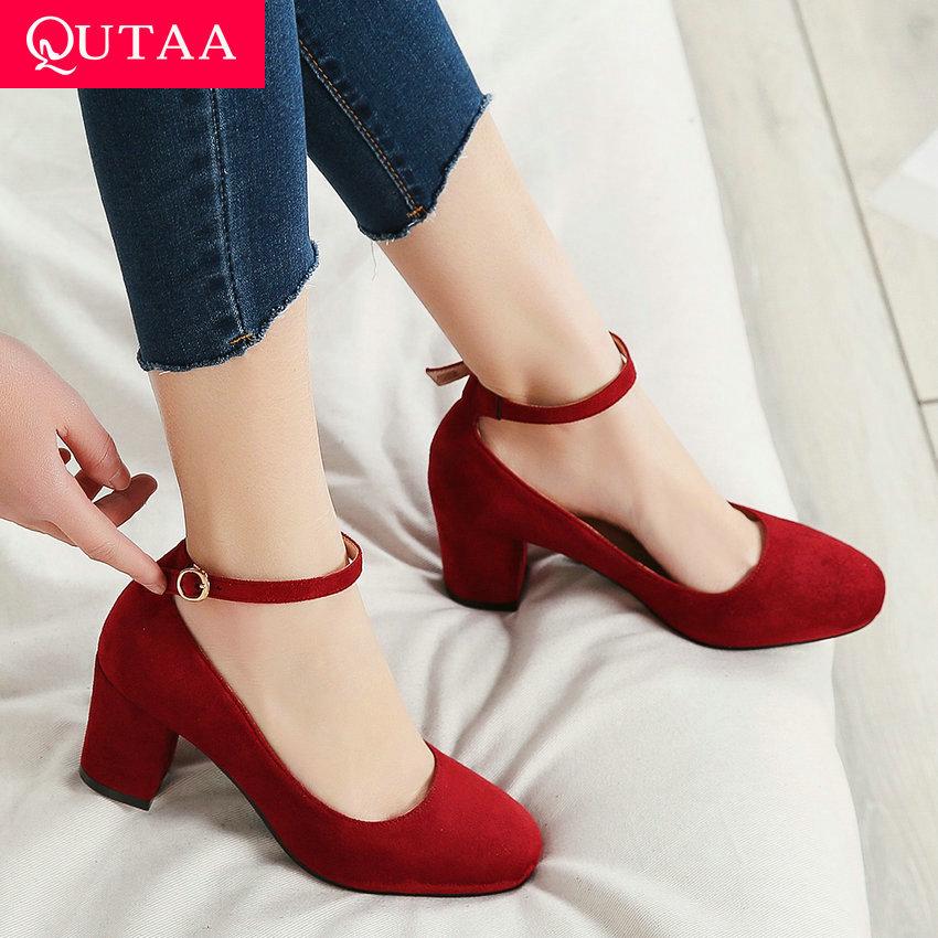 QUTAA 2020 Women Sandals Thin High Heel Mixed Color PU