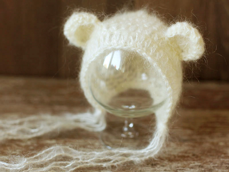 Newborn bear hat, Ivory/Cream hat, Baby bonnet, Mohair hat, Photo prop, Photography, Knitted hat, Beanie, Shower gift newborn baby photography props infant knit crochet costume peacock photo prop costume headband hat clothes set baby shower gift