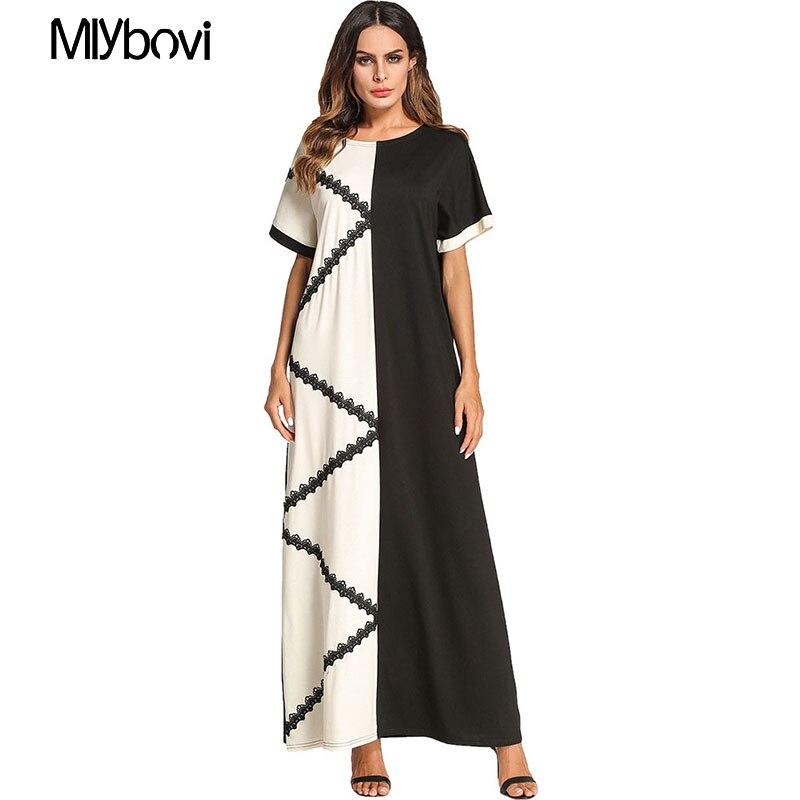 Femmes Plus La Taille Moyen-Orient Musulman Femmes patchwork Maxi Robe À Manches Courtes Abaya Longue Robes Ramadan Arabe Islamique Vêtements 2018