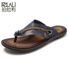 polali Brand 2016 New Men's Flip Flops Genuine Leather Slippers Summer Fashion Beach Sandals Shoes For Men Big Size 38-44
