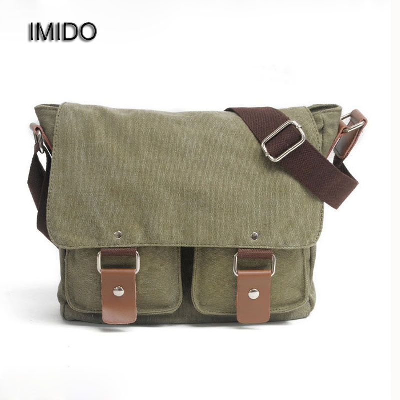 IMIDO Men Bags Vintage Canvas Messenger Bags 2017 Designer Brand Men's Crossbody Shoulder Bag Solid Male Travel Bag Coffee MG028 high quality men canvas bag vintage designer men crossbody bags small travel messenger bag 2016 male multifunction business bag