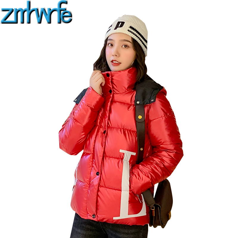 New 2019 Hooded Red Short Wadded Jackets Women's Winter Warm Down   Parkas   Letter Print Zipper Loose Glossy Coats Outwear Overcoat
