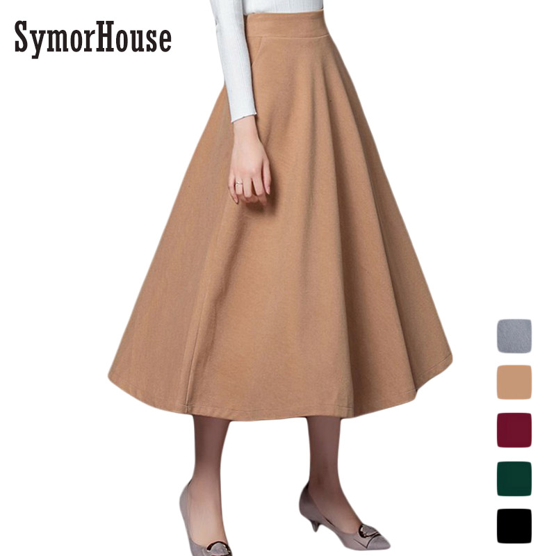 4152d5c52d Europe&America New Winter Skirt 2017 Autumn Fashion Women's Long Woolen  Skirts A-line Wool Skirts 5 Color Casual Skirts female