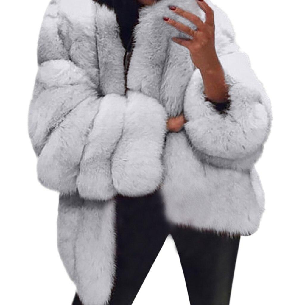2018 Outwear Sexy S Abrigo Mujeres Abrigos Manga Sintética 60 lightgray coffee Larga Chaqueta De Cálido pink Las Piel Nuevas Más Gray Invierno dark Black white Moda qFU8Cw