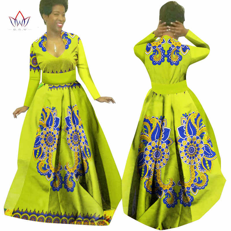 2d587a95f14 African Wax Print Maxi Dresses Dashiki Plus Size Traditional African  Clothes for Women Full Sleeve Long