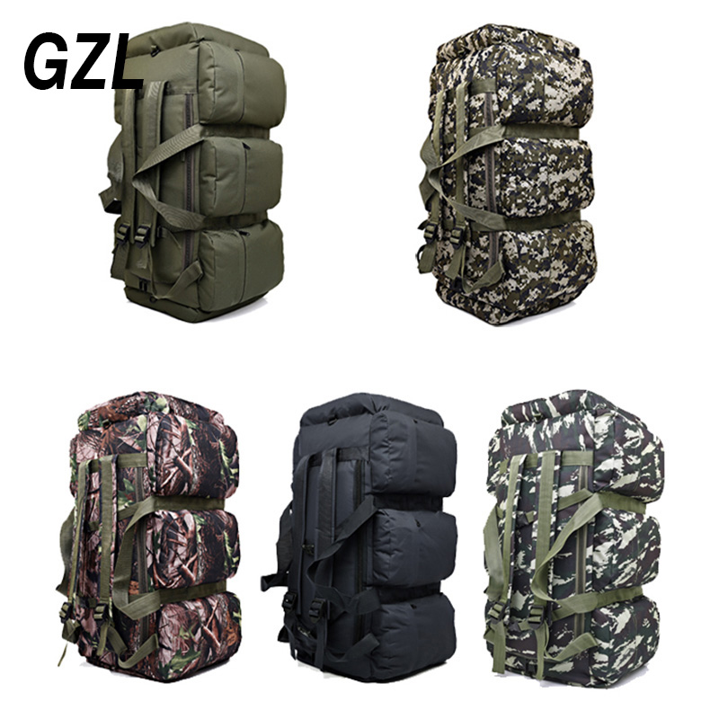 GZL 90L large capacity military travel bags oxford/canvas backpack camouflage duffel bag waterproof backpack TB0070 35l waterproof tactical backpack military multifunction high capacity hike camouflage travel backpack mochila molle system