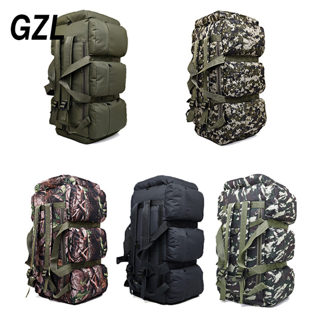 GZL 90L large capacity military travel bags oxford/canvas backpack camouflage duffel bag waterproof backpack TB0070