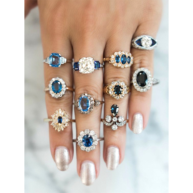 Delicate Luxury Lady Blue Crystal Geometry Round Water Drops Irregular Flower Ring Set