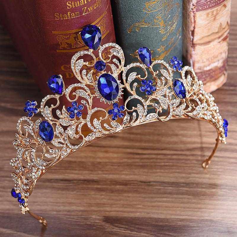Diadèmes de mariée et couronnes bandeau bandeau rouge vert bleu cristal or Baroque roi princesse couronne cheveux bijoux reconstitution historique