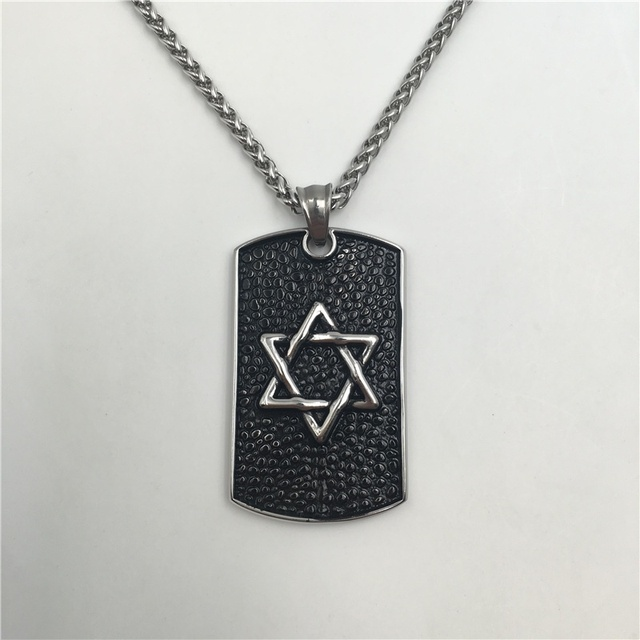 Buy dog tag w star of david pendant for Star of david necklace mens jewelry