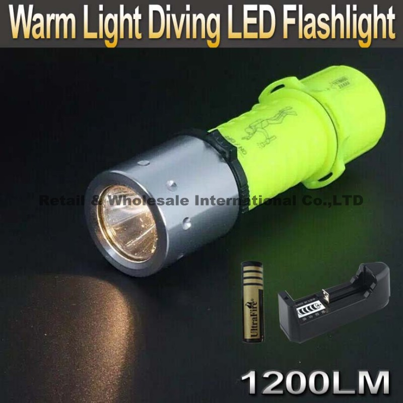 Warm Light CREE XM-L T6 LED Diving Waterproof Underwater Flashlight Lamp Torch 3 Mode T6 1200LM + 4000mAh battery+Charger diving 4000 lumens cree xm l2 led 3 l2 led t6 flashlight torch waterproof underwear lamp light super white light
