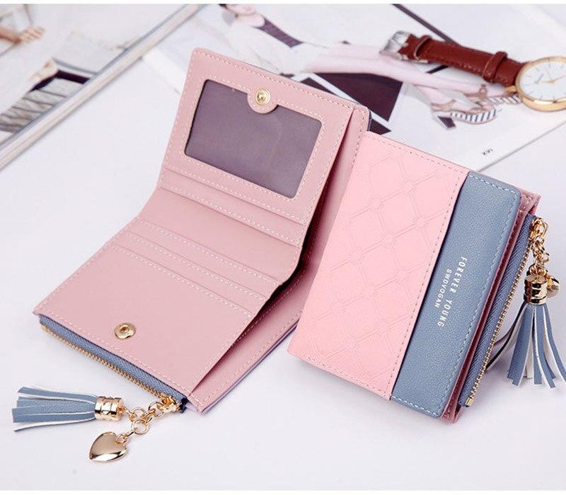 Leather Small Wallet Women Mini Women Wallets Purses Female Short Coin Zipper Purse Holder Tassel Zipper Button Bag (12)