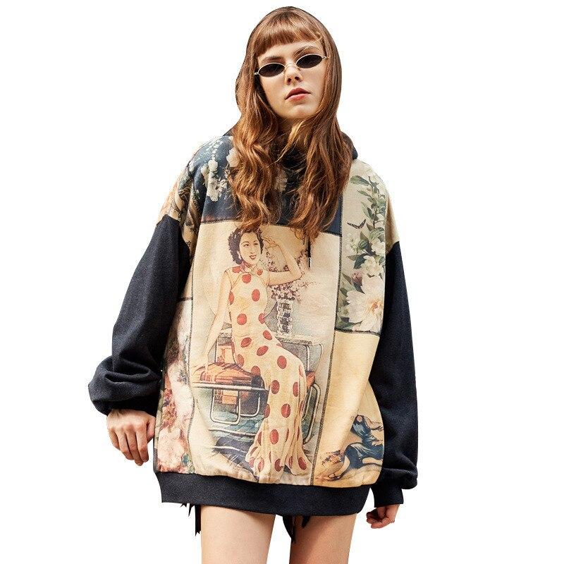 UNIFREE 2019 Autunno nuovo arrivo nazionale marea maglione loose women Hong Kong gusto retro stampa con cappuccio pigro felpa UAA183A031 - 2