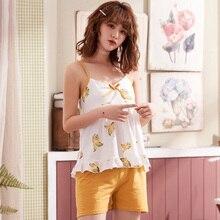 Cartoon Lemon Printed Sleepwear Ins Style Women Summer Pajam