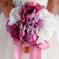 2016 Свадебный Букет Шику Невесты Цветы Брошь Горный Хрусталь Букет Невесты Перл Шелковая Лента Рамос Де Novia En Cristal