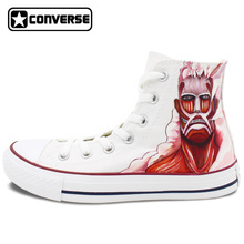 Men Women Converse All Star Shoes Anime Attack On Titan Design Hand Painted Shoes White Sneakers Custom Unique Cosplay Gifts