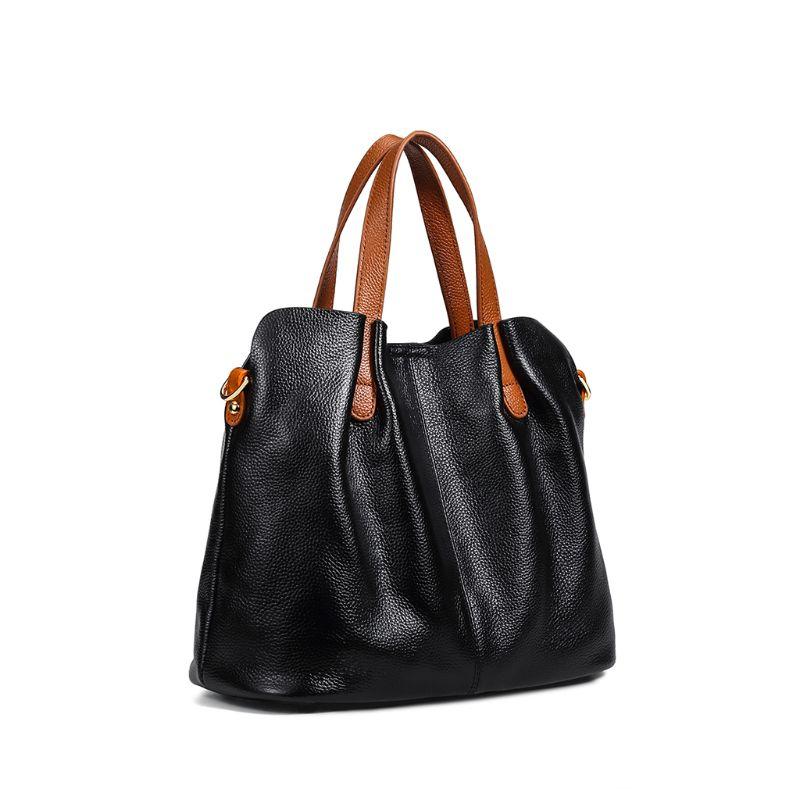 Véritable cuir cartable sac à main bandoulière sac à bandoulière fourre-tout sac à main avec sac intérieur pour femme plage voyage fête utilisation fournitures