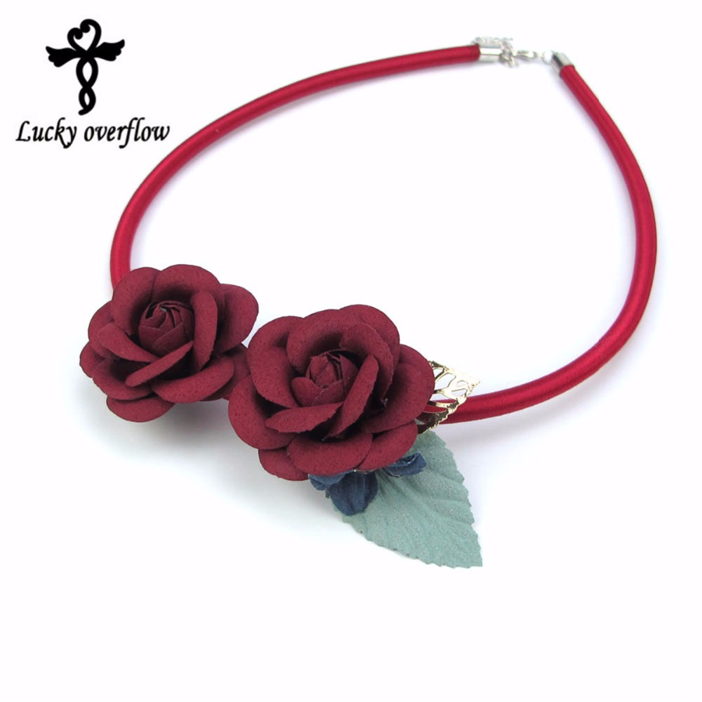 2017 Trendy Female Handmade Flower Leaf Choker Necklace Leather Fashion Jewelry Pendant Accessories For Woman Christmas Gift