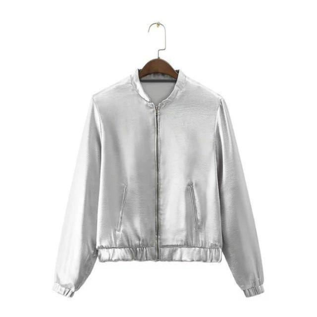 designer fashion 177bd daf9e US $32.65 |2017 Autunno new fashion trendy anteriore dei capelli texture  metallo argento zipper allentato giacca corta in 2017 Autunno new fashion  ...