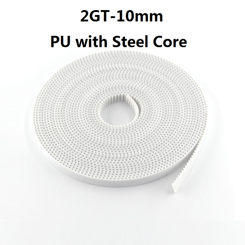 Timing Belt PU with Steel Core GT2 10mm White Color 2GT Timing Belt 10mm Width 5M