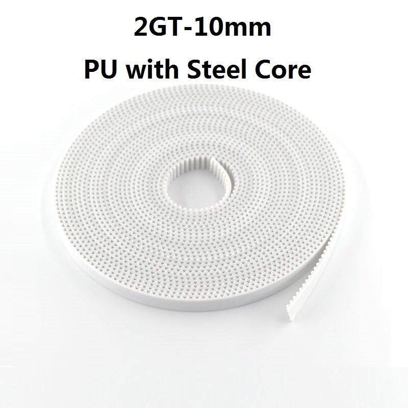 Zahnriemen PU mit Stahl Core GT2-10mm Weiß Farbe 2GT Zahnriemen 10mm Breite 5 mt/10 mt /20 mt/50 mt Pack