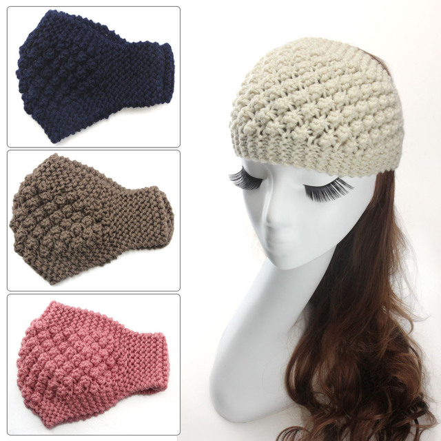 Crocheted Headband Wide knit earwarmer wood buttons women\'s winter ...