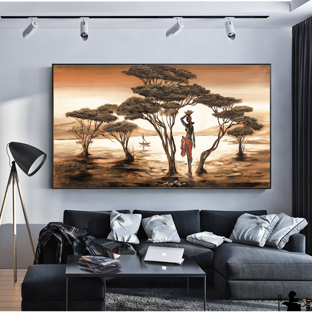 African Woman Paintings On The Wall Classical Sunset Landscape Wall Art Canvas Prints And Posters Cuadros Pictures Home Decor