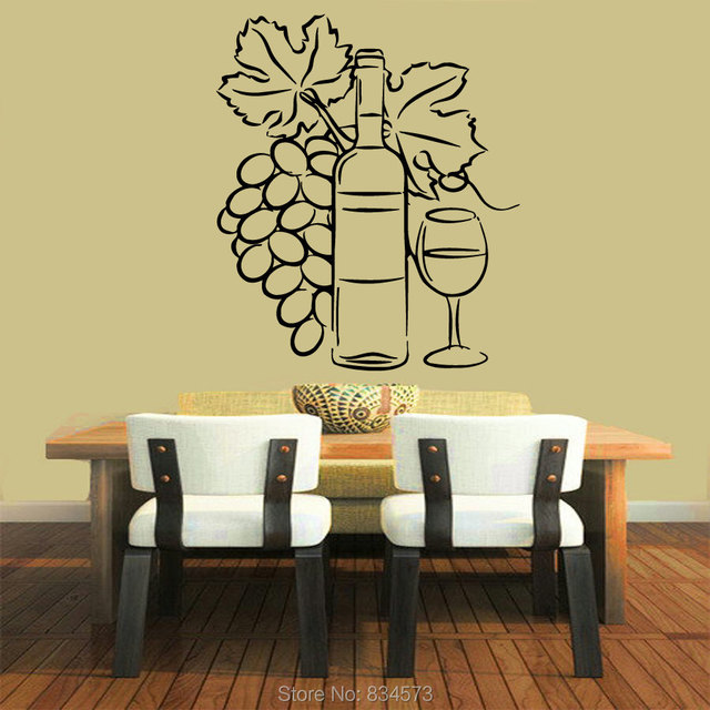 Mad World Grapevine Floral Bottle Glass of Wine Wall Art Sticker ...