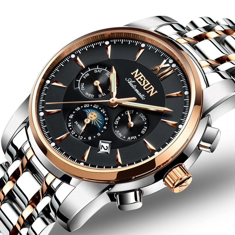 Switzerland Luxury Brand NESUN Watch Men Automatic Mechanical Watches relogio masculino Luminous Multifunctional clock N9805-2 все цены