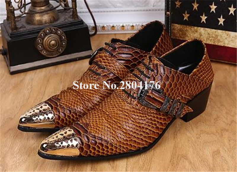 High Quality Men Fashion Brown Pattern Leather Gold Metal Pointed Toe Formal Men Leather Shoes Snake Leather Flat Leisure Shoes fashion horse hair tassels leather leopard pattern flat shoes black brown pair 37