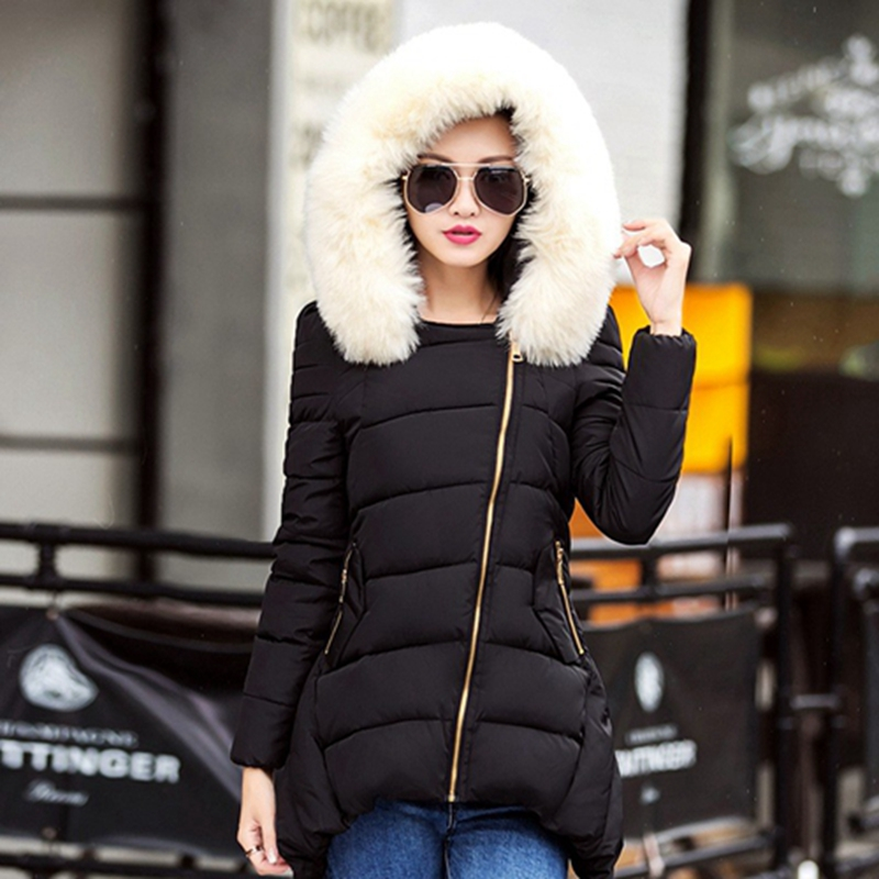 2016 New Winter Wadded Jacket Women Long Slim Thick Down Cotton Coat Female Fur Collar Hooded Zipper Women Winter Jacket W027 women s clothing real fur collar winter jacket women 2015 new fashion thick winter coat female cotton padded jacket wadded coat