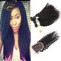 8a série cabelo virgem não processado cru indiano tecer encaracolado humano cabelo 4 pacotes com fecho de onda profunda Black Friday Big desconto
