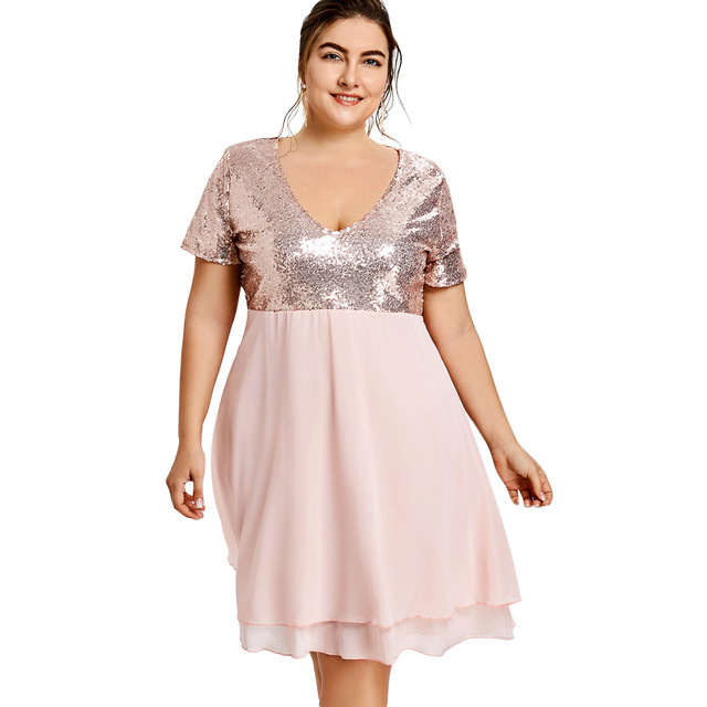 Kenancy Plus Size 5XL Glitter Sequin Vintage Dress Elegant Style Pink Girls Party  Dress V Neck d6f1758dd7cc