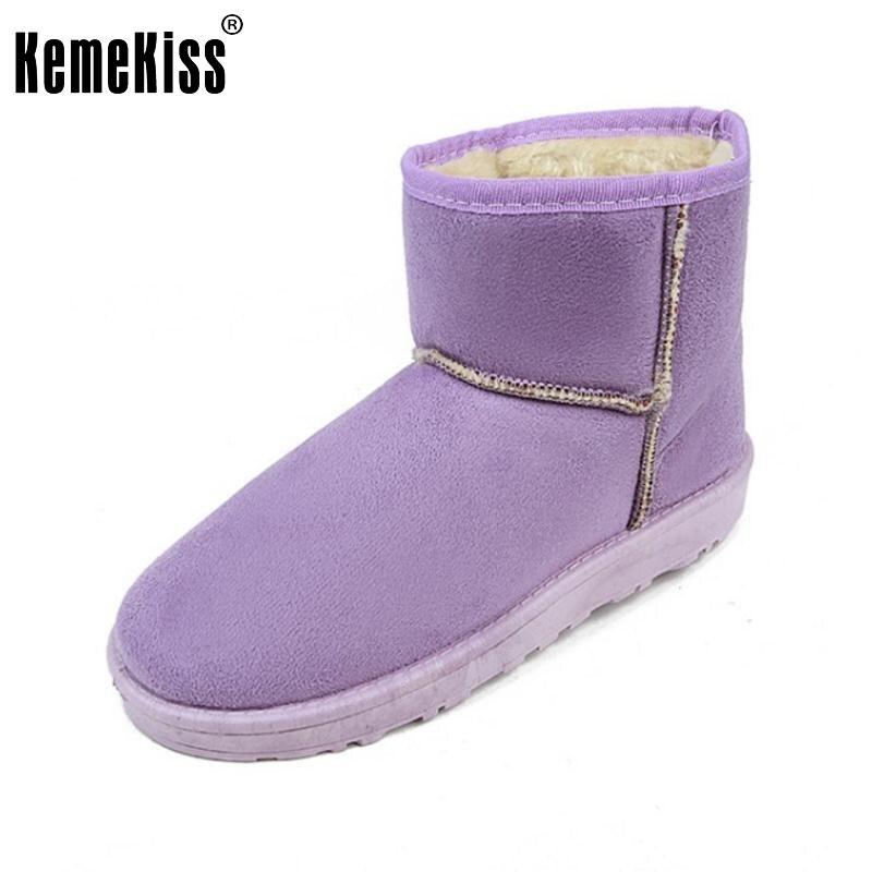 KemeKiss 7 Colors Women Half Short Flats Boots Snow Women Winter Flats Boots Warm Shoes Winter Botas Women Footwear Size 36-40