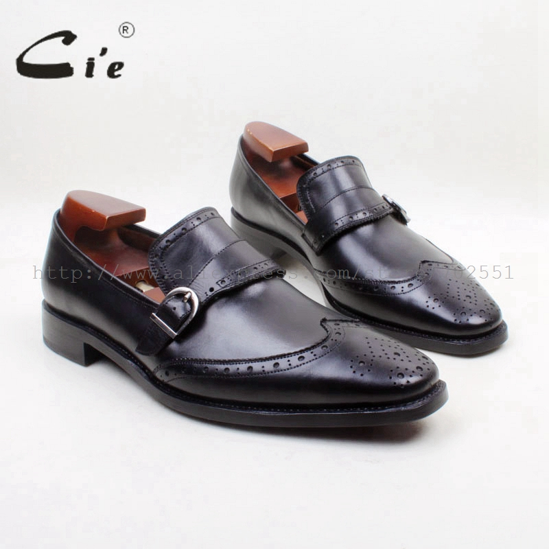 cie Free Shipping Square Toe Genuine Leather Upper Insole Outsole Custom Handmade Black with Buckle Loafer Men's Shoe loafer 156 cie free shipping handmade tassels buckle loafer brown white matching calf leather bottom outsole men shoe 3 crafts loafer66