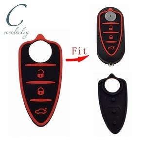 Cocolockey Silicone Rubber Key Pad Fit For Alfa Romeo Mito Giulietta 159 GTA 3Buttons Flip Remote Key In Black Red(China)