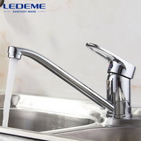 LEDEME Kitchen Faucet Pull Out Modern Polished Chrome Plated Single Handle Swivel Spout Vessel Sink Mixer